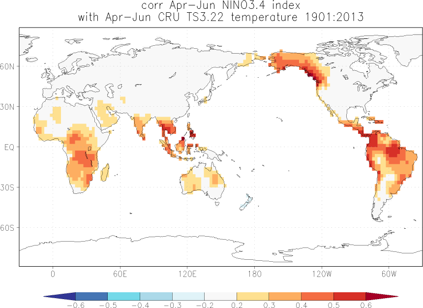 Relationship between El Niño and temperature in April-June