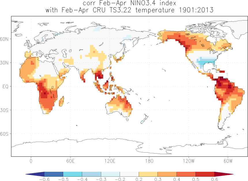 Relationship between El Niño and temperature in February-April