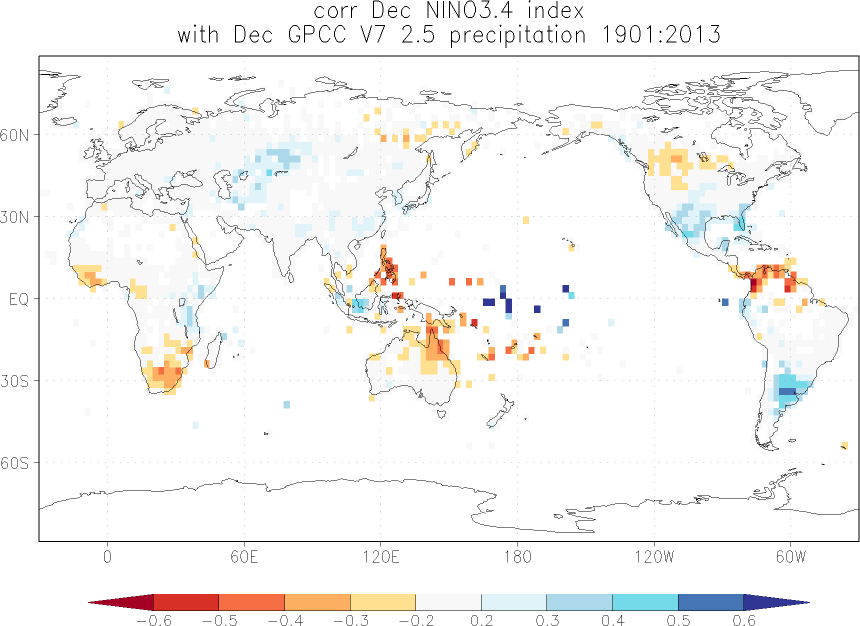 Relationship between El Niño and precipitation in December