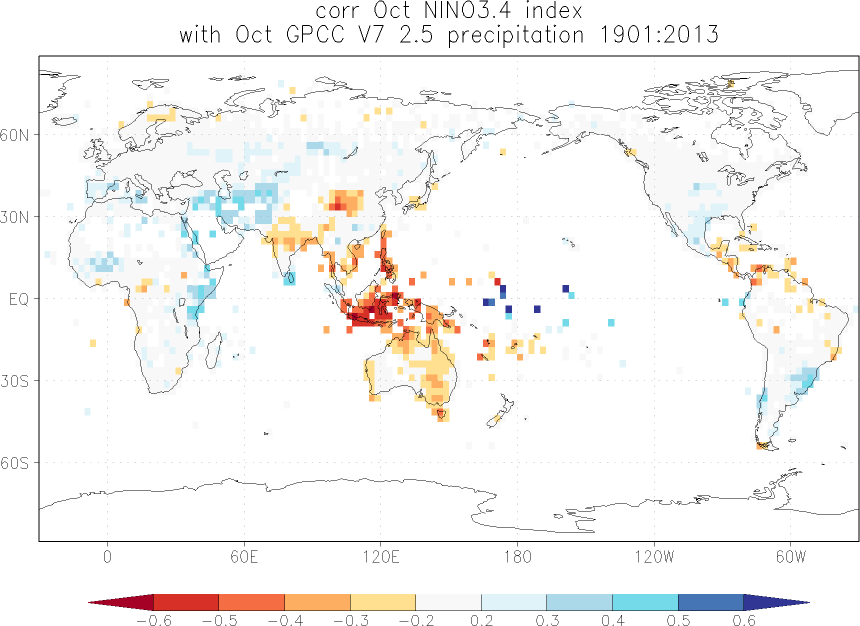 Relationship between El Niño and precipitation in October