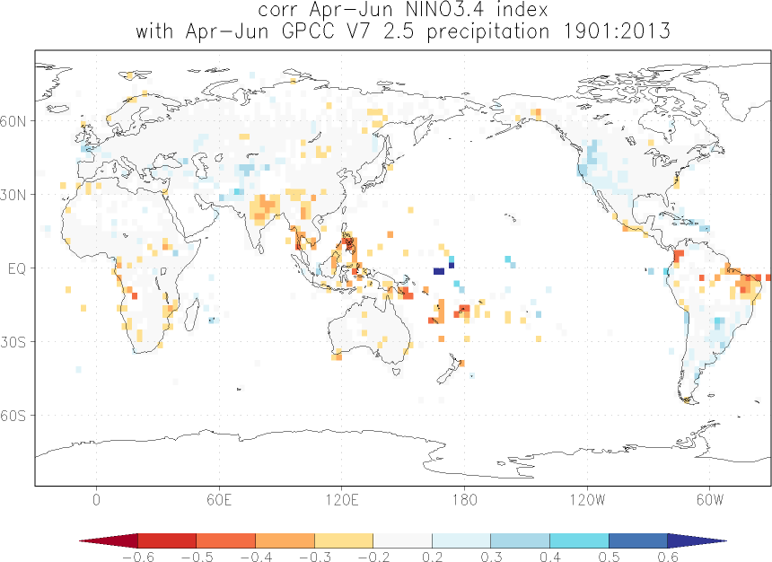 Relationship between El Niño and precipitation in April-June