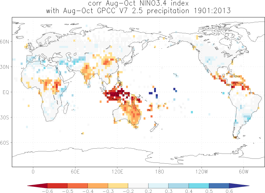 Relationship between El Niño and precipitation in August-October