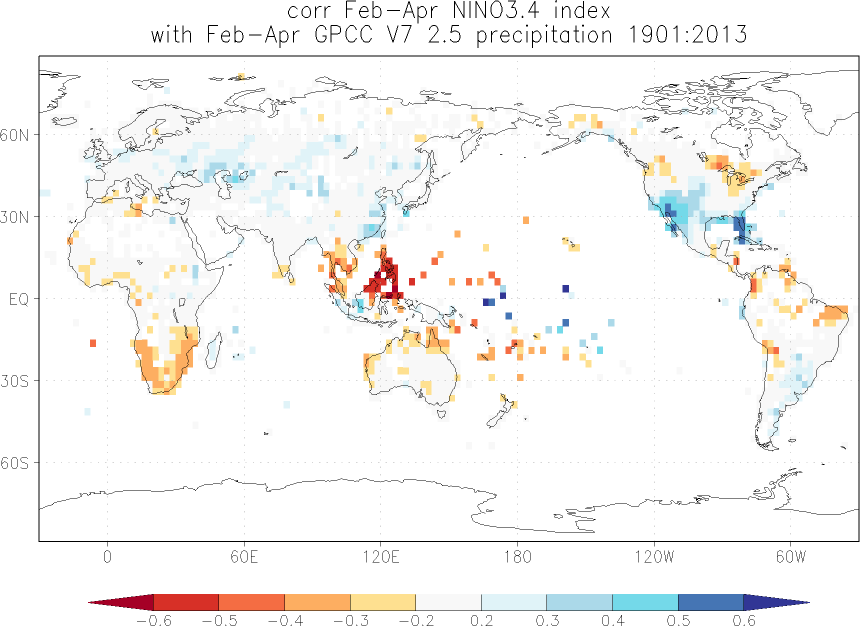 Relationship between El Niño and precipitation in February-April