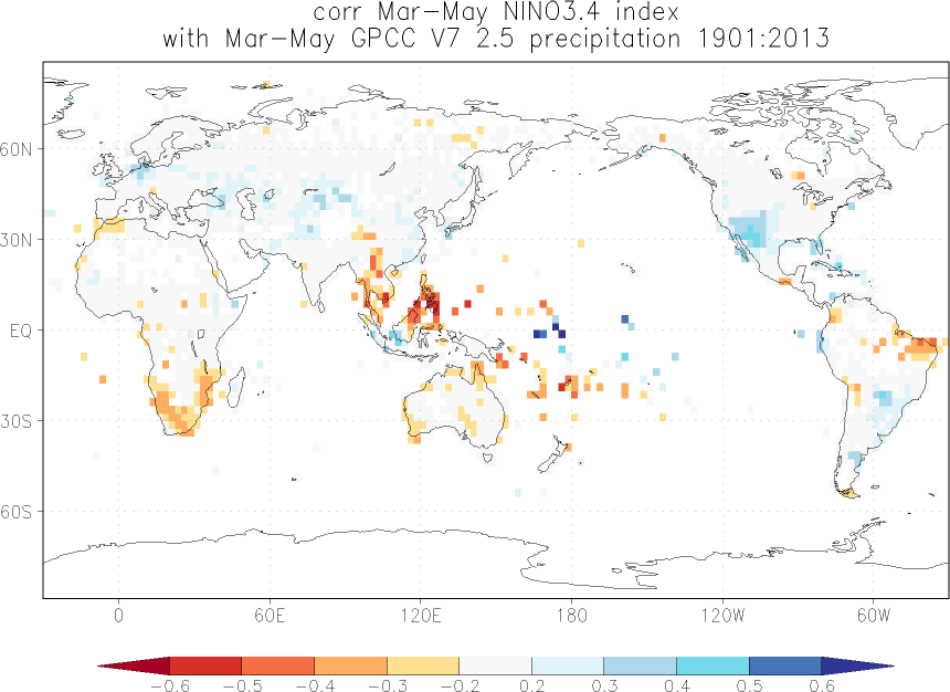 Relationship between El Niño and precipitation in March-May