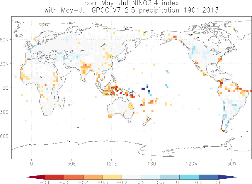 Relationship between El Niño and precipitation in May-July