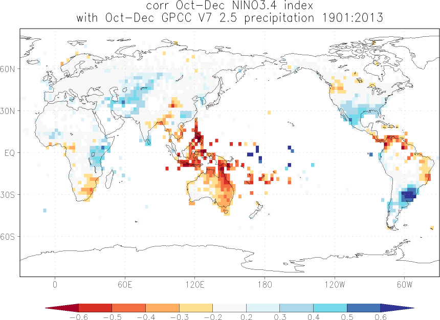 Relationship between El Niño and precipitation in October-December