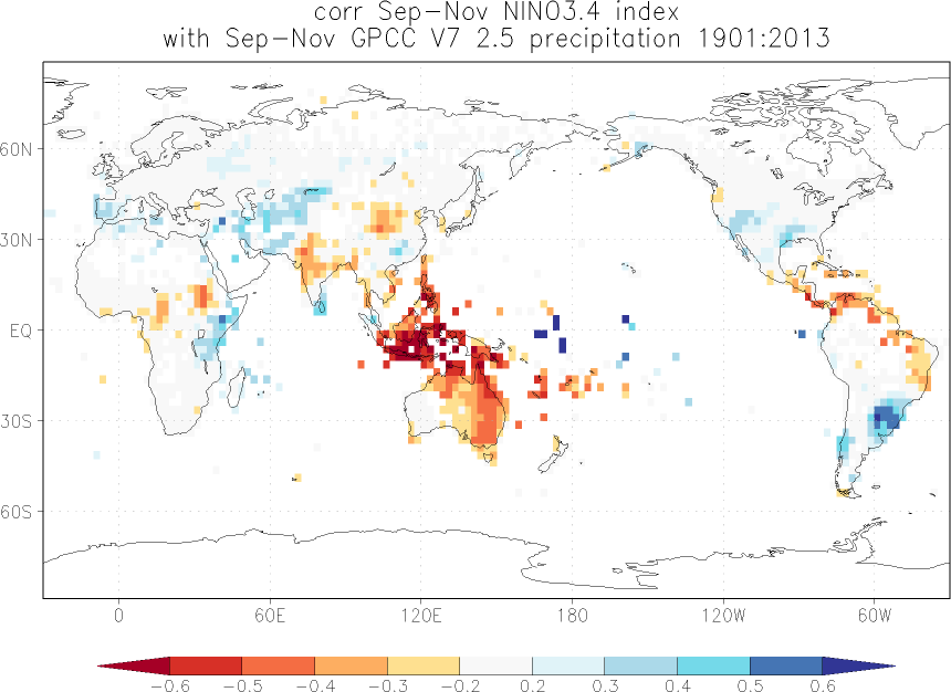 Relationship between El Niño and precipitation in September-November